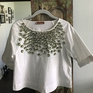 Tops - White cotton top with sequined floral design Small